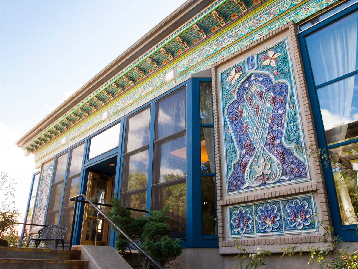Teahouse exterior with hand-painted and ceramic panels