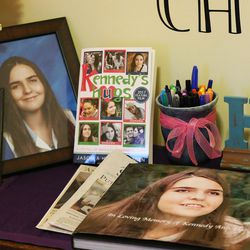 Memorabilia of Kennedy Hansen is displayed in the home of her parents, Jason and Heather Hansen, in West Haven on Nov 20, 2016. Kennedy died in June 2014. A book and a movie tell Kennedy's story.