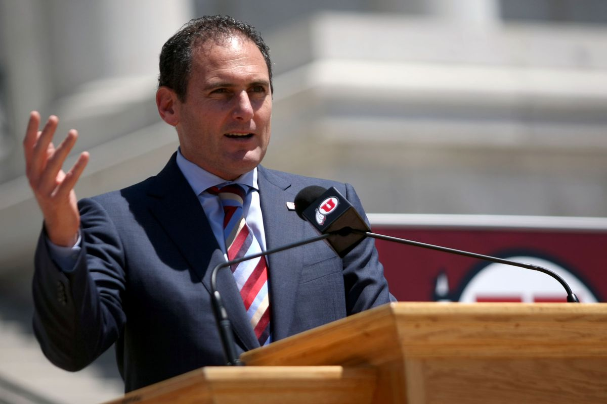 Pac-12 Commissioner Larry Scott speaks during the Pac-12 Celebration Day event at the State Capitol in Salt Lake City on Friday, July 1, 2011.
