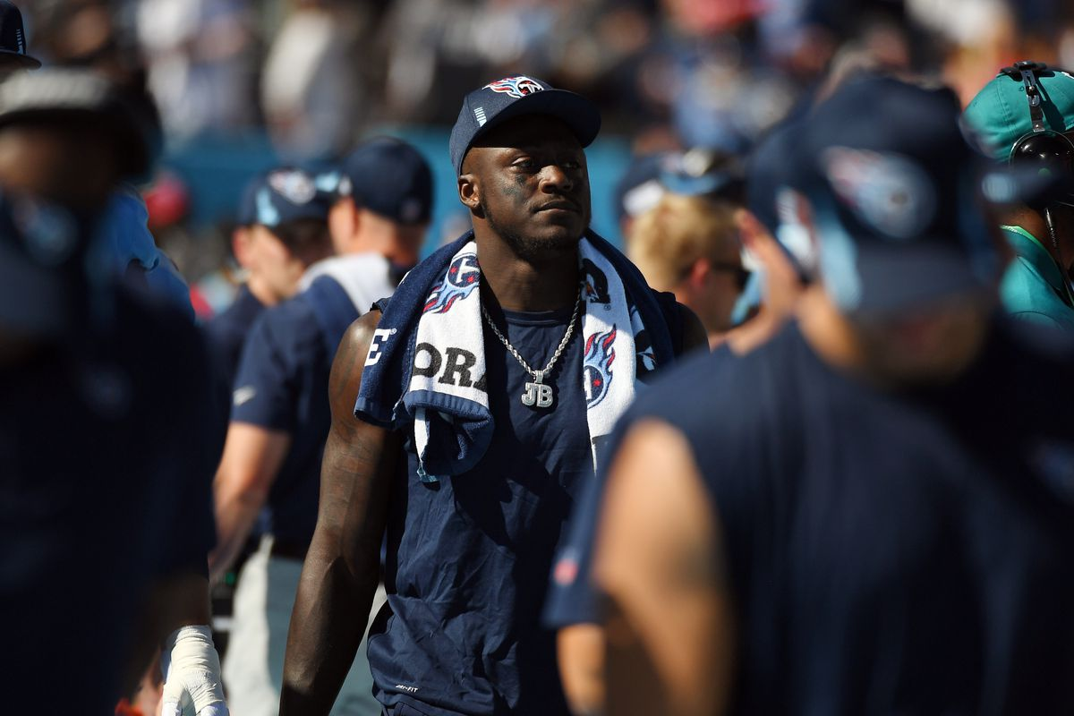 Tennessee Titans wide receiver A.J. Brown (11) on the sidelines during the second half against the Indianapolis Colts at Nissan Stadium.
