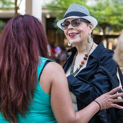 Karen Lewis the president of the Chicago Teachers Union speaks with a reporter outside Dr. Martin Luther King Jr. College Preparatory High School in Chicago on the first day of the CPS school year, Tuesday, September 6, 2016.