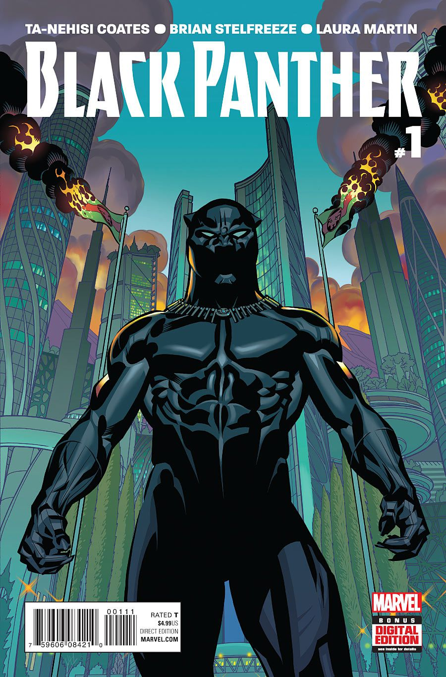 T'Challa stands in costume before two burning Wakandan flags in the capital of Wakanda, on the cover of Black Panther #1, Marvel Comics (2016).