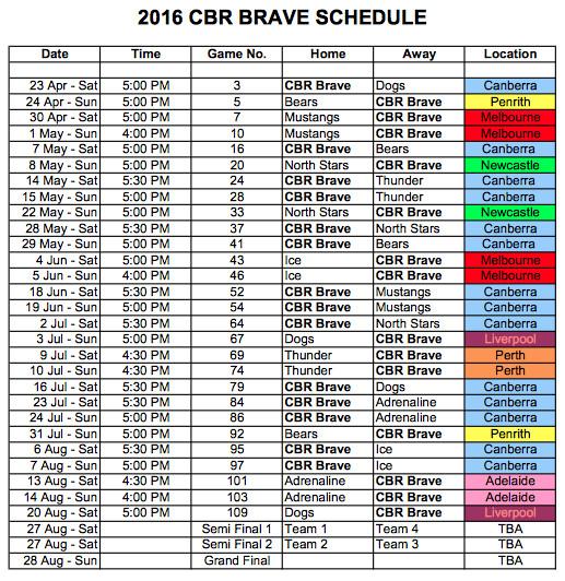 2016 CBR Brave Schedule