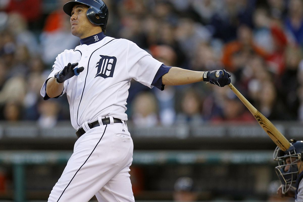 DETROIT, MI - MAY 04: Magglio Ordonez #30 of the Detroit Tigers hits a third inning home run while playing the New York Yankees at Comerica Park on May 4, 2011 in Detroit, Michigan. (Photo by Gregory Shamus/Getty Images)