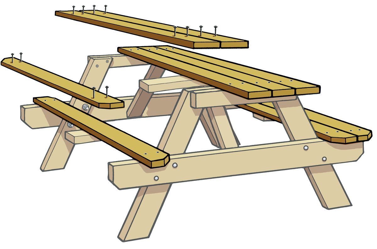 Attaching Top And Benches Of Picnic Table