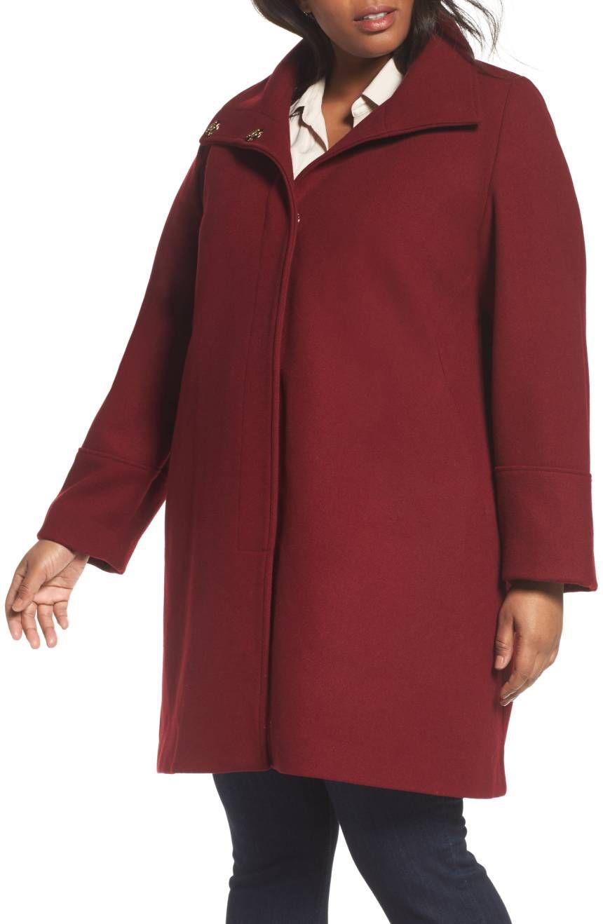 Eliza J Wool Blend Coat in red