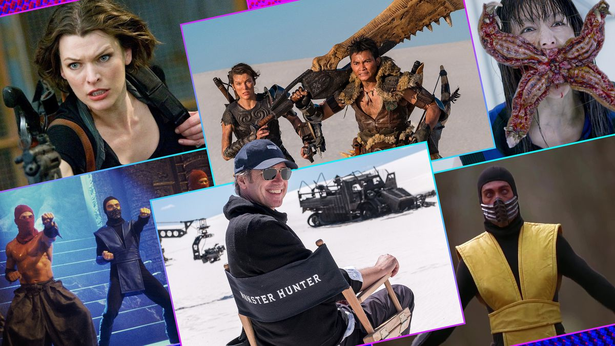 Graphic grid of six rectangles on bright purple blue background with images from the movies Monster Hunter, Mortal Combat, Resident Evil and a photo of director Paul Anderson