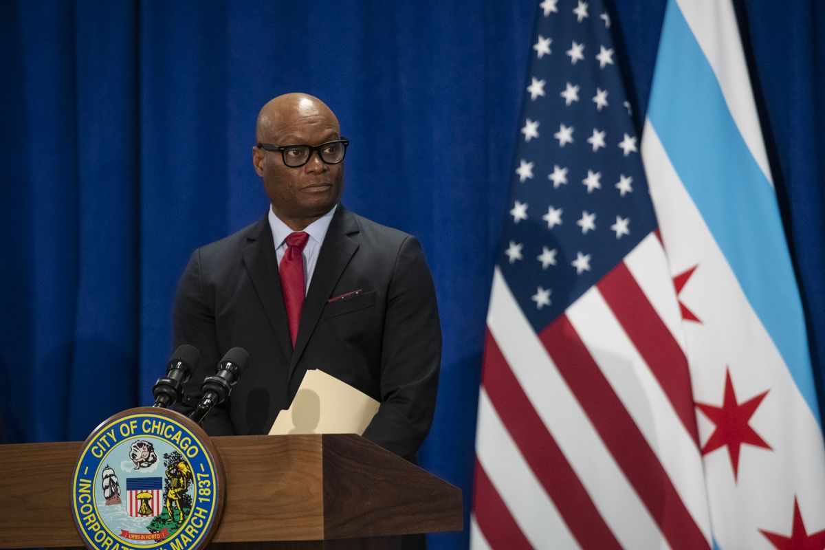Former Dallas Police Chief David Brown speaks to reporters after Mayor Lori Lightfoot nominated him to be Chicago's next police superintendent.