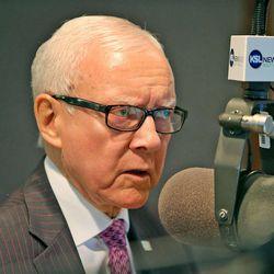 "Sen. Orrin Hatch talks on KSL NewsRadio's ""Doug Wright Show"" Tuesday, Oct. 22, 2013, in Salt Lake City."