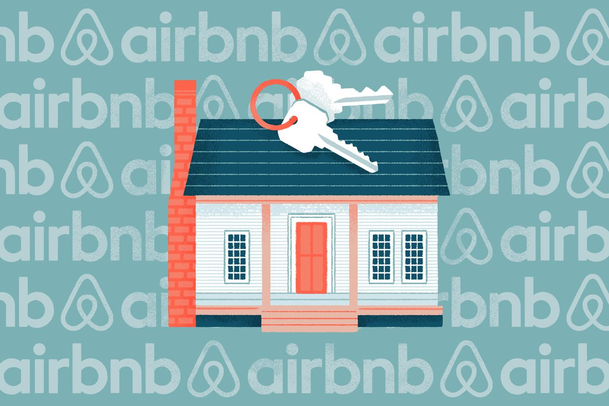 A graphic showing keys, a house, and the Airbnb logo.