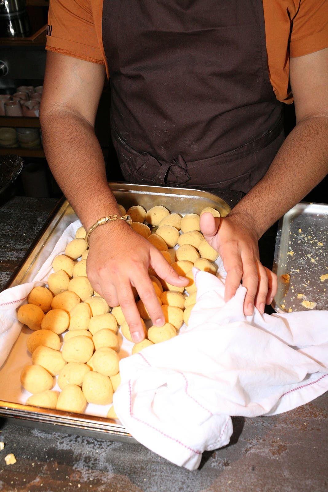 Balls of masa pre-pressing into tortillas at Santiago Lastra's Kol in Marylebone, central London