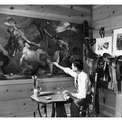 <b>Mel Shaw painting The Centaurs in the tack room of the Encino Ranch, 1938.</b>