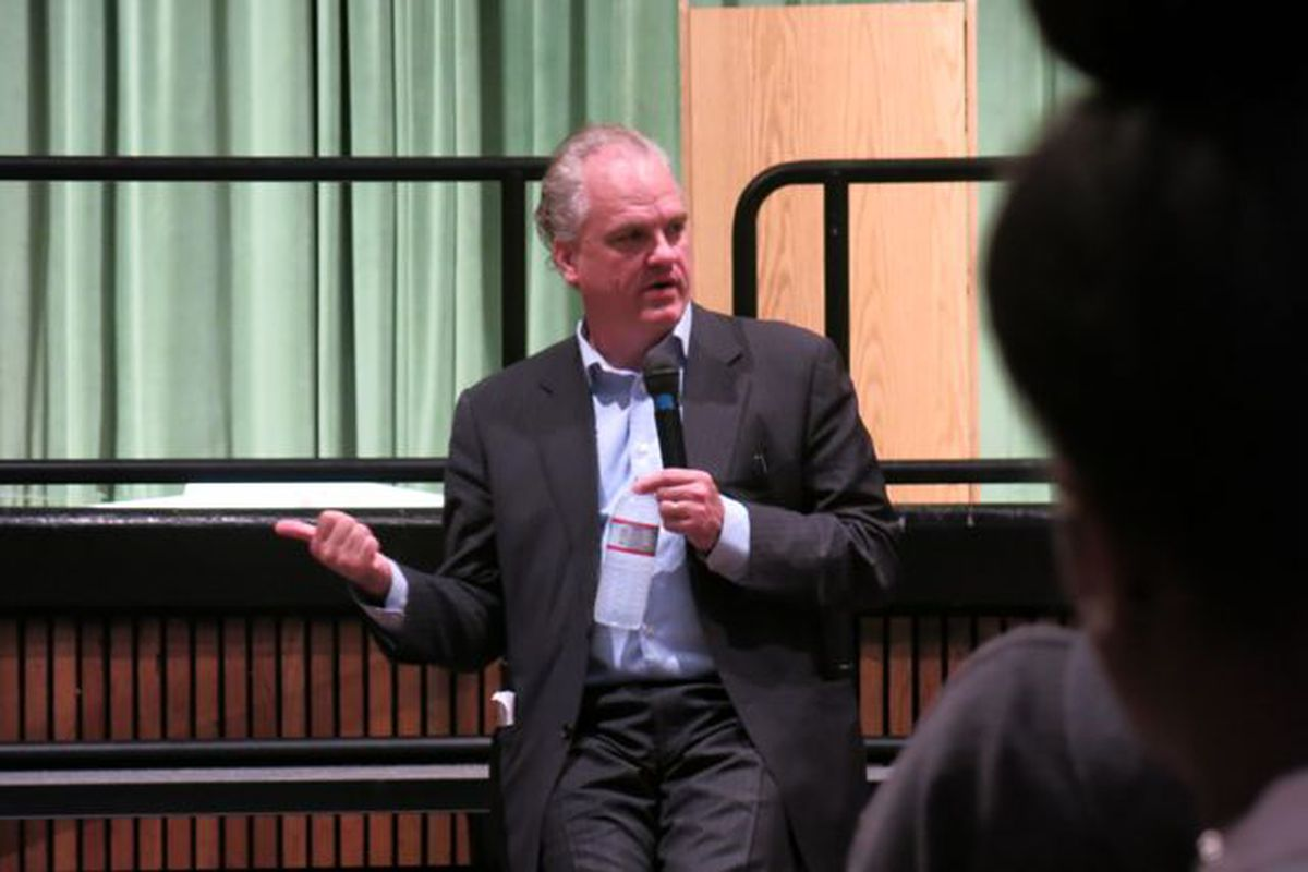 Pulitzer Prize-winning Author Douglas Blackmon talks with Central High School history students about race relations and his book: Slavery by Another Name: The Re-enslavement of Black Americans from the Civil War to World War II.