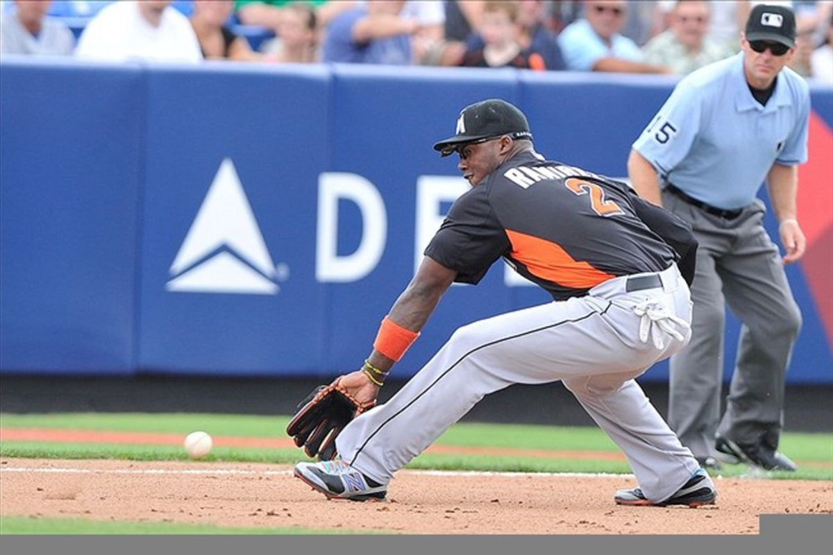 March 11, 2012; Port St Lucie, FL, USA;   Miami Marlins shortstop Hanley Ramirez (2)  makes a play during  first inning of the  spring training game against the New York Mets at  Digital Domain Park. Mandatory Credit: Brad Barr-US PRESSWIRE