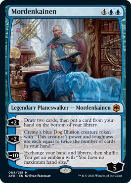 Mordenkainen, legendary Planeswalker card.