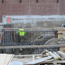 Closeup view of foundation prep work in left field