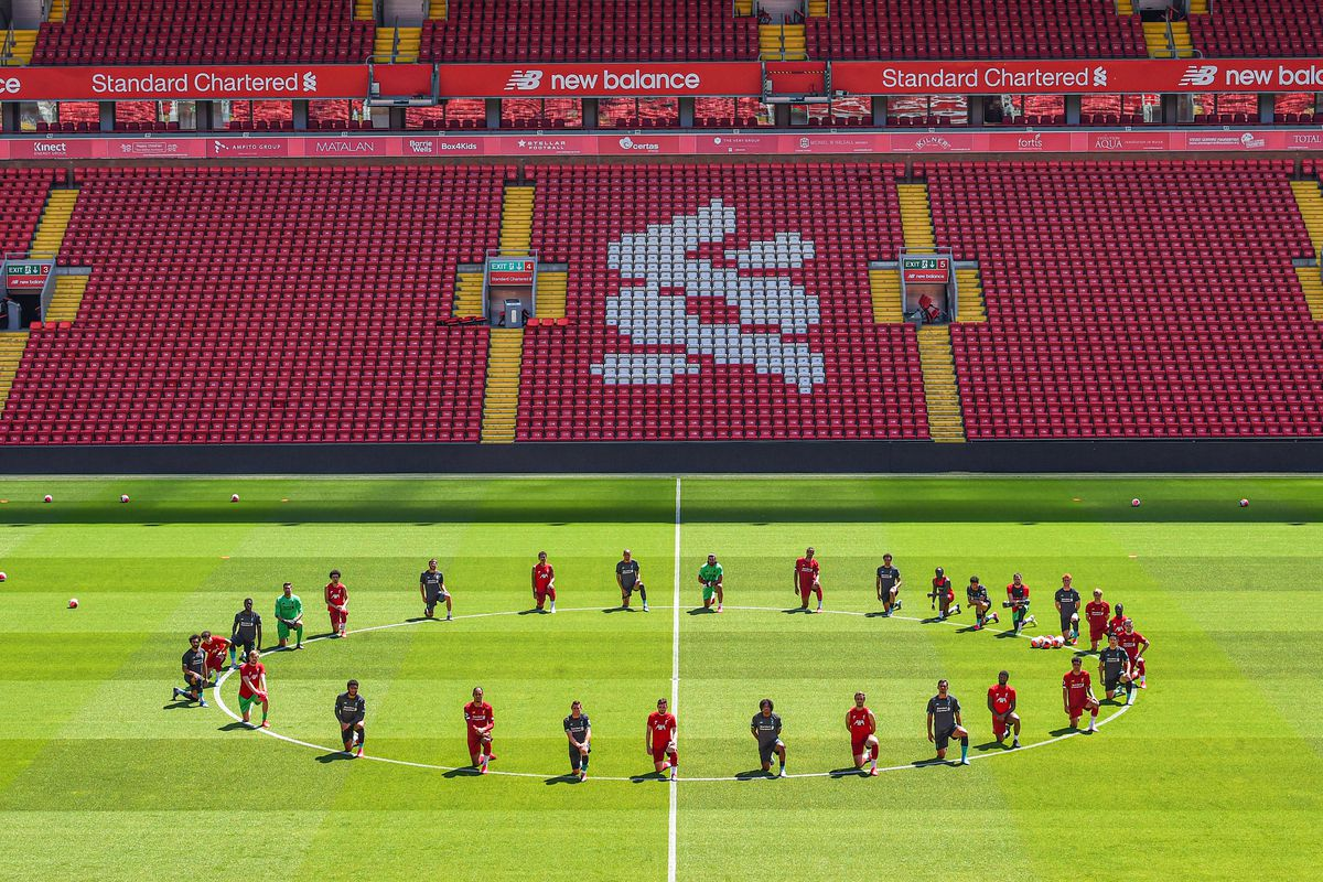 Liverpool Players Take the Knee in Memory of George Floyd During a Training Session