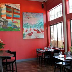 """Art is by <a href=""""http://www.jeremyeatonart.com/"""" rel=""""nofollow"""">Jeremy Eaton</a> , who is friends with the owners. He also gave his vision to the decor: """"color in the periphery, clean and clear where food will be."""""""