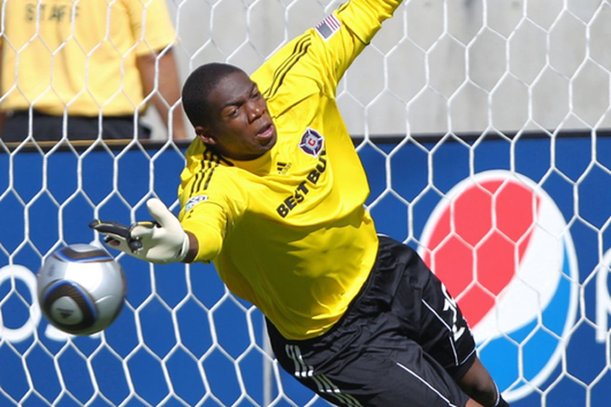 SANDY UT - SEPTEMBER 18: Goalie Sean Johnson of the Chicago Fire has a goal scored on him by Real Salt Lake during the first half of an MLS soccer game September 18 2010 at Rio Tinto Stadium in Sandy Utah. (Photo by George Frey/Getty Images)