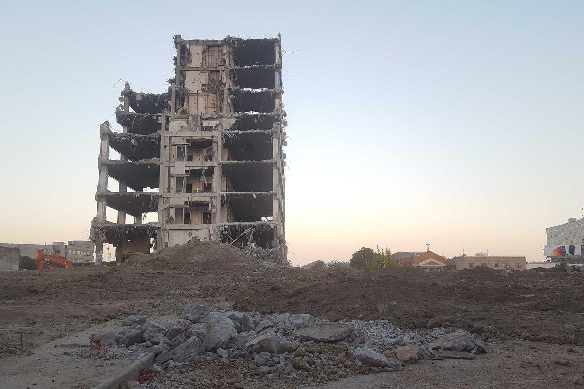 Parker Center, partially demolished