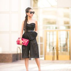 """Wendy of <a href=""""http://www.wendyslookbook.com""""target=""""_blank"""">Wendy's Lookbook</a> is wearing a vintage corset, Zimmermann pants, a <a href=""""http://www.bluefly.com/valentino-fuchsia-leather-rockstud-studded-accent-wristlet-clutch/p/339785801/detail.fly?"""