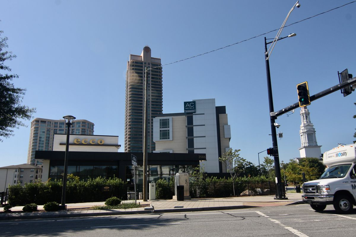 Two modern style buildings at a corner street in Atlanta's Buckhead.