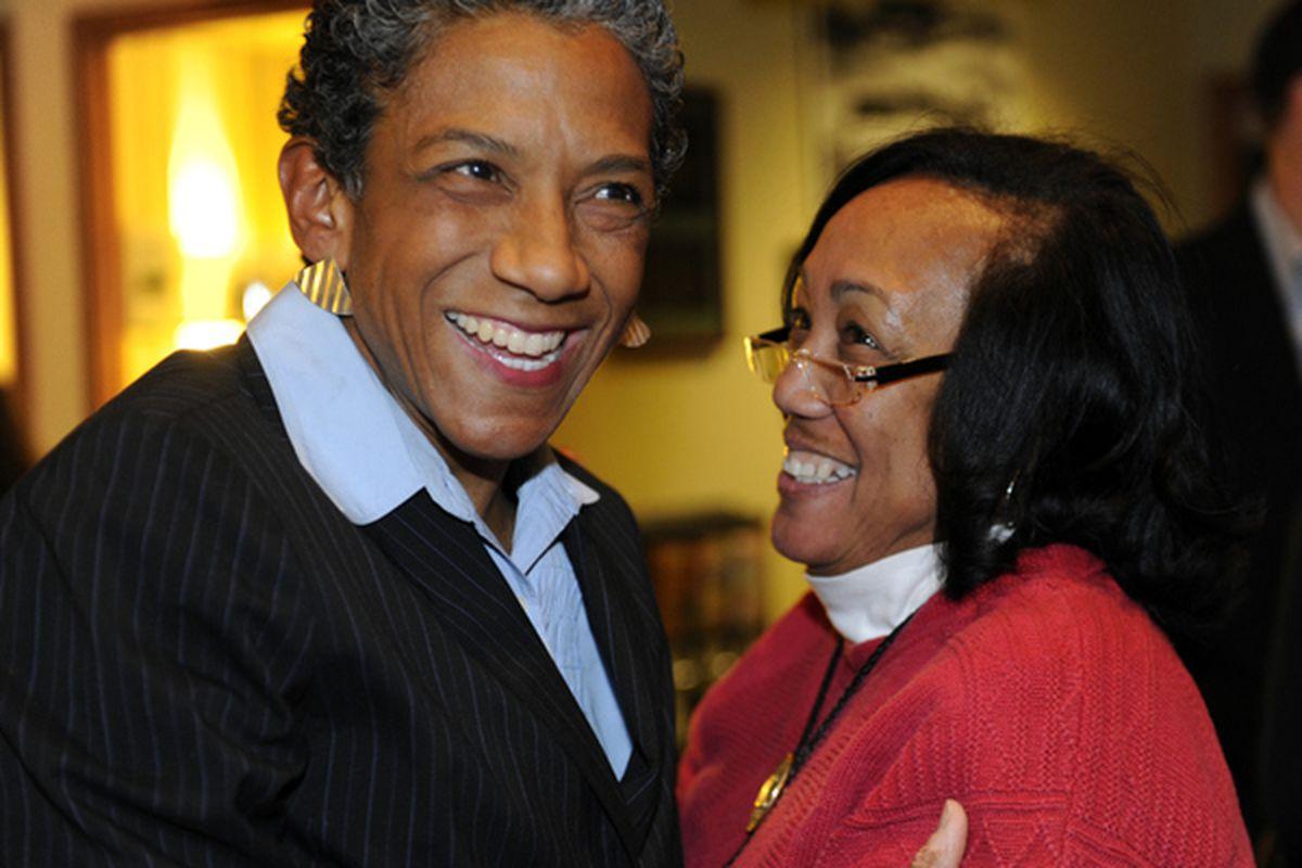 Happy Haynes (left) celebrates her 2011 election to the Denver school board with her sister Khadija.