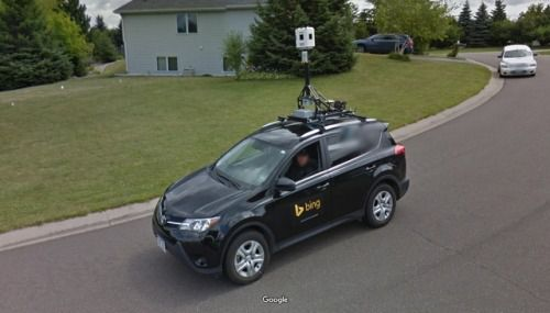 When A Google Street View Car Meets A Bing Car Only One Can Survive