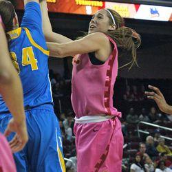 Cassie Harberts gets blocked by Corinne Costa.