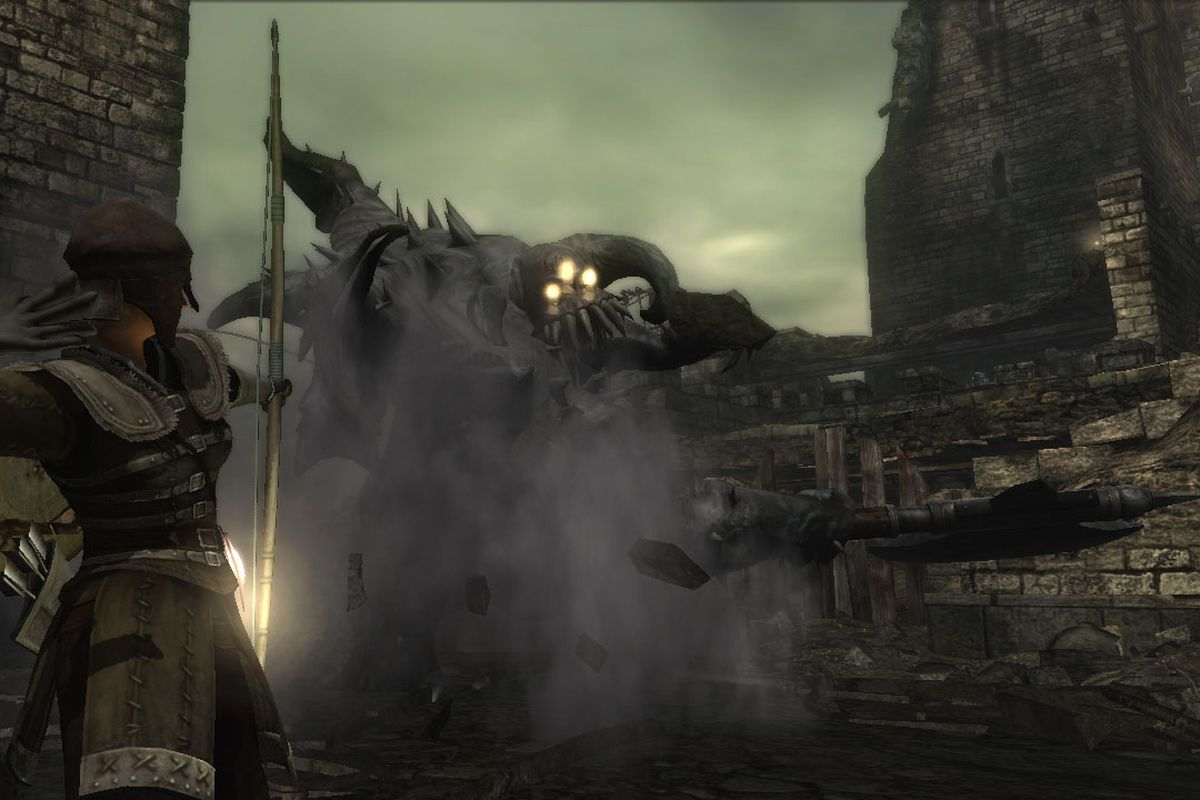 The Vanguard Demon swings his ax at an archer in a screenshot from Demon's Souls.