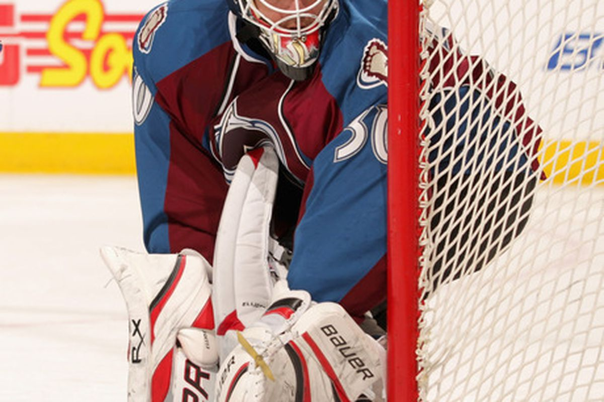 DENVER CO - FEBRUARY 23:  Goalie Brian Elliott #30 of the Colorado Avalanche defends the goal against the Edmonton Oilers at the Pepsi Center on February 23 2011 in Denver Colorado.  (Photo by Doug Pensinger/Getty Images)