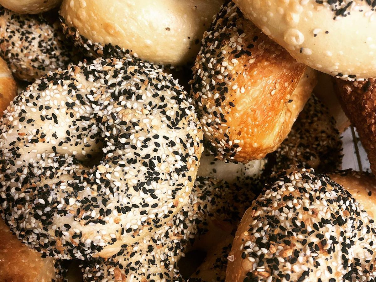 A close-up on a variety of bagels