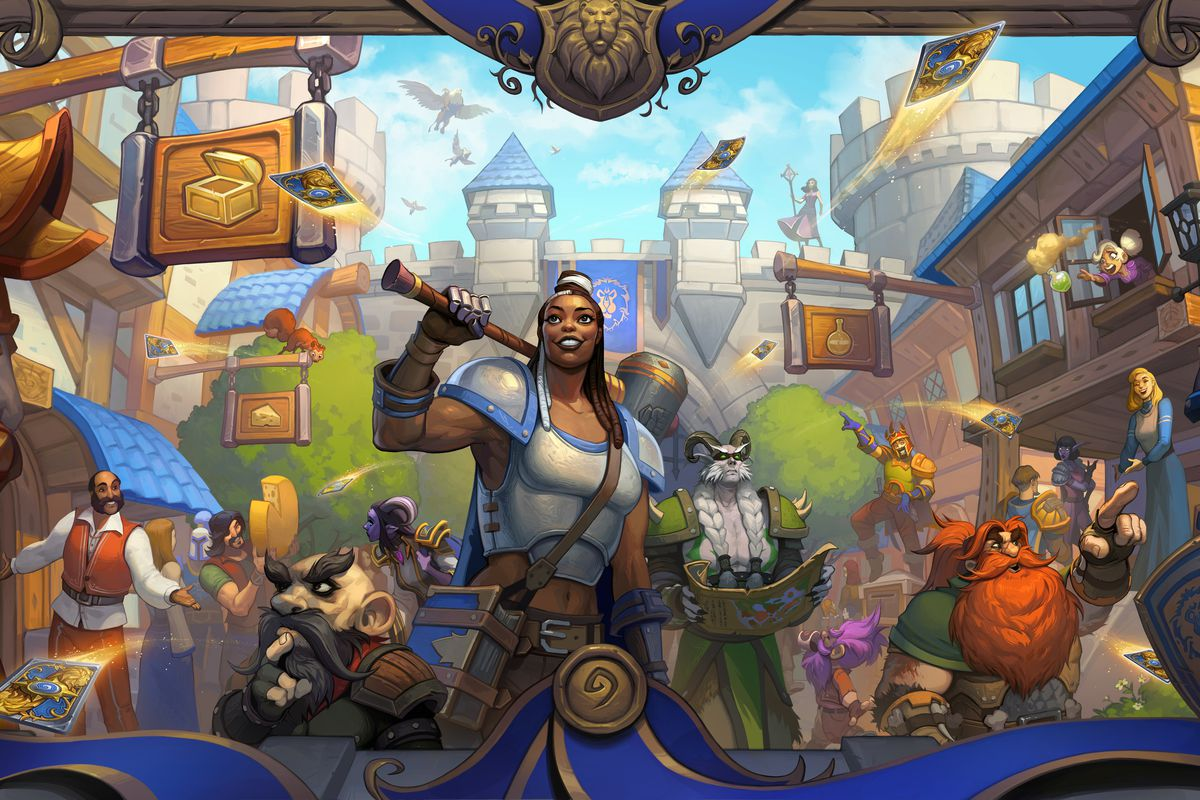 Hearthstone - Key art for United in Stormwind, showing a selection of Alliance heroes standing in the middle of the trade district.