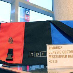 """Messenger bag, <a href=""""http://shop.npr.org/use/bags/custom-messenger-npr-bag"""">$129.</a> Image credit: Caitlin Sanders/NPR"""