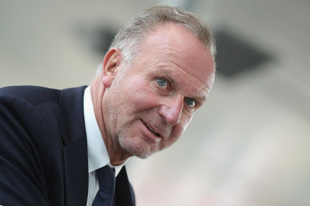 MUNICH, GERMANY - OCTOBER 22: Karl-Heinz Rummenigge, CEO of FC Bayern Muenchen looks on prior to the departure to the UEFA Champions League match in Athens at Airport Munich on October 22, 2018 in Munich, Germany.