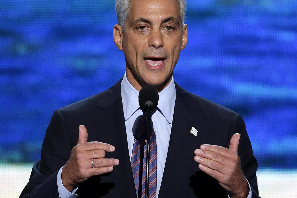 Chicago Mayor Rahm Emanuel addresses the Democratic National Convention in Charlotte, N.C., on Tuesday, Sept. 4, 2012.