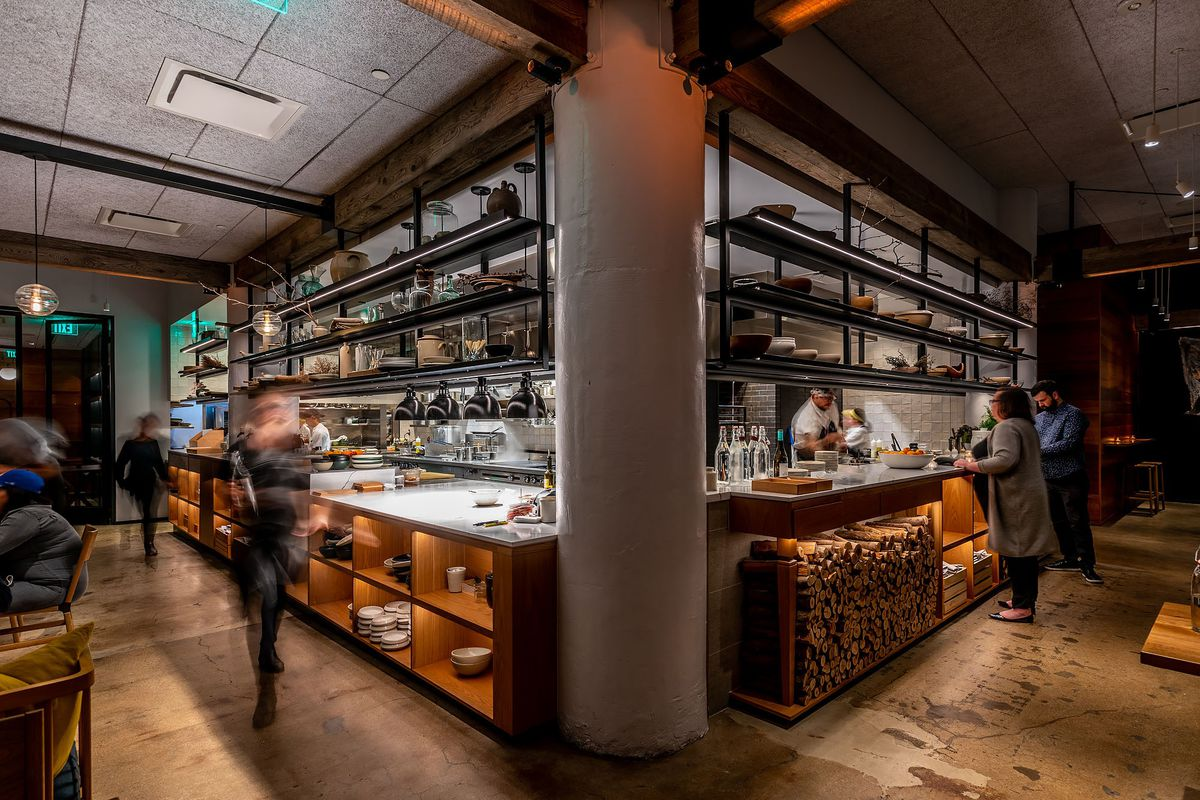 Kitchen at M.Georgina in Downtown LA in early March, before the state-mandated shut downs of restaurant dining rooms