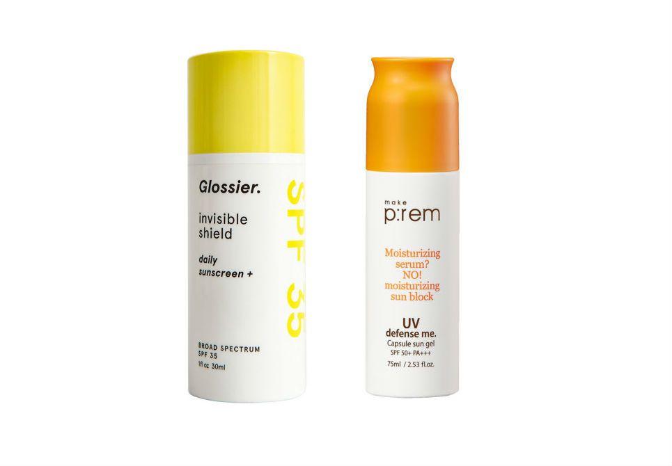 Glossier Invisible Shield Sunscreen SPF 35 and Make P:REM Capsule Sun Gel SPF 55