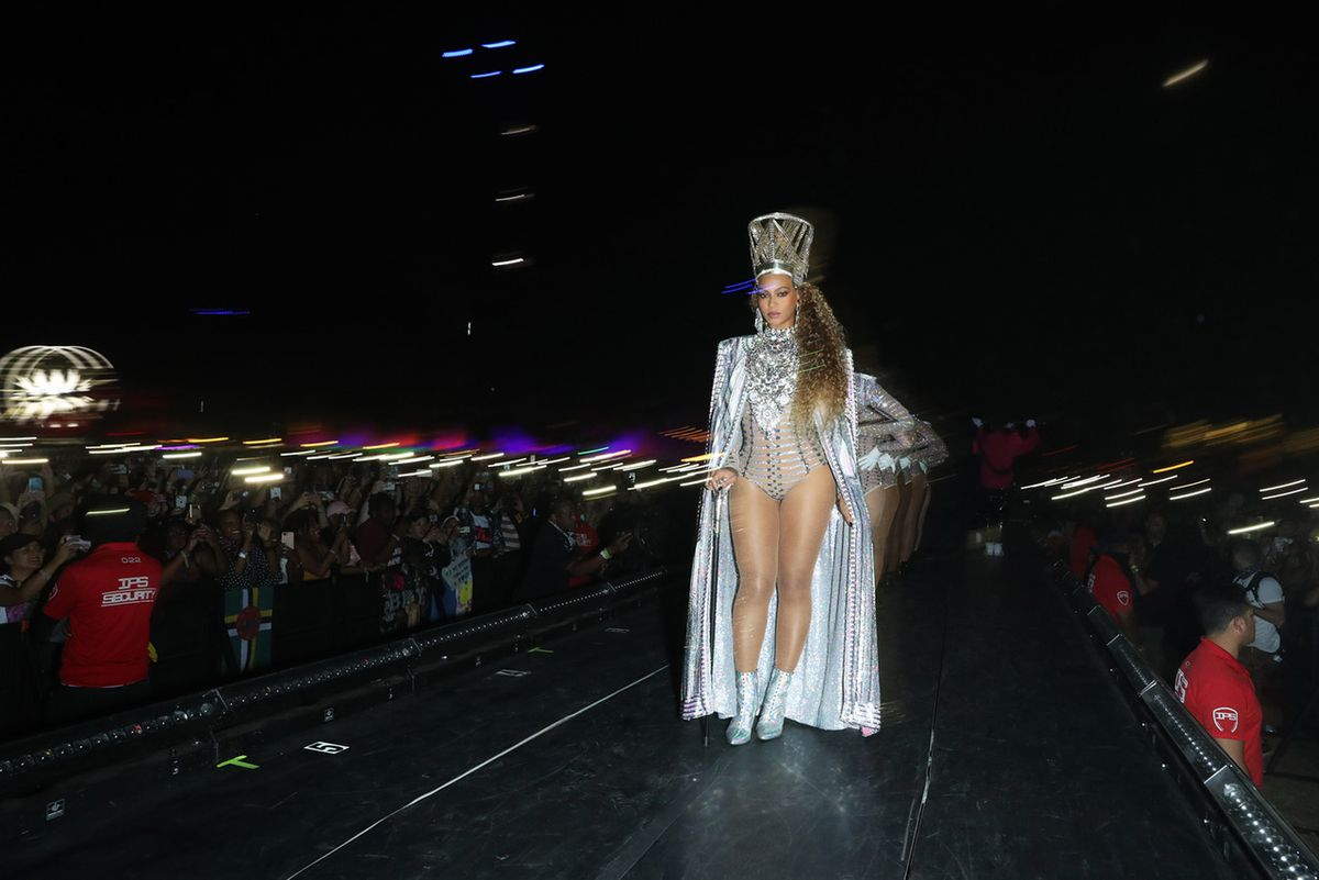"""Beyonce performs during her set at the 2018 Coachella festival in a scene from her documentary """"Homecoming.""""   Netflix"""