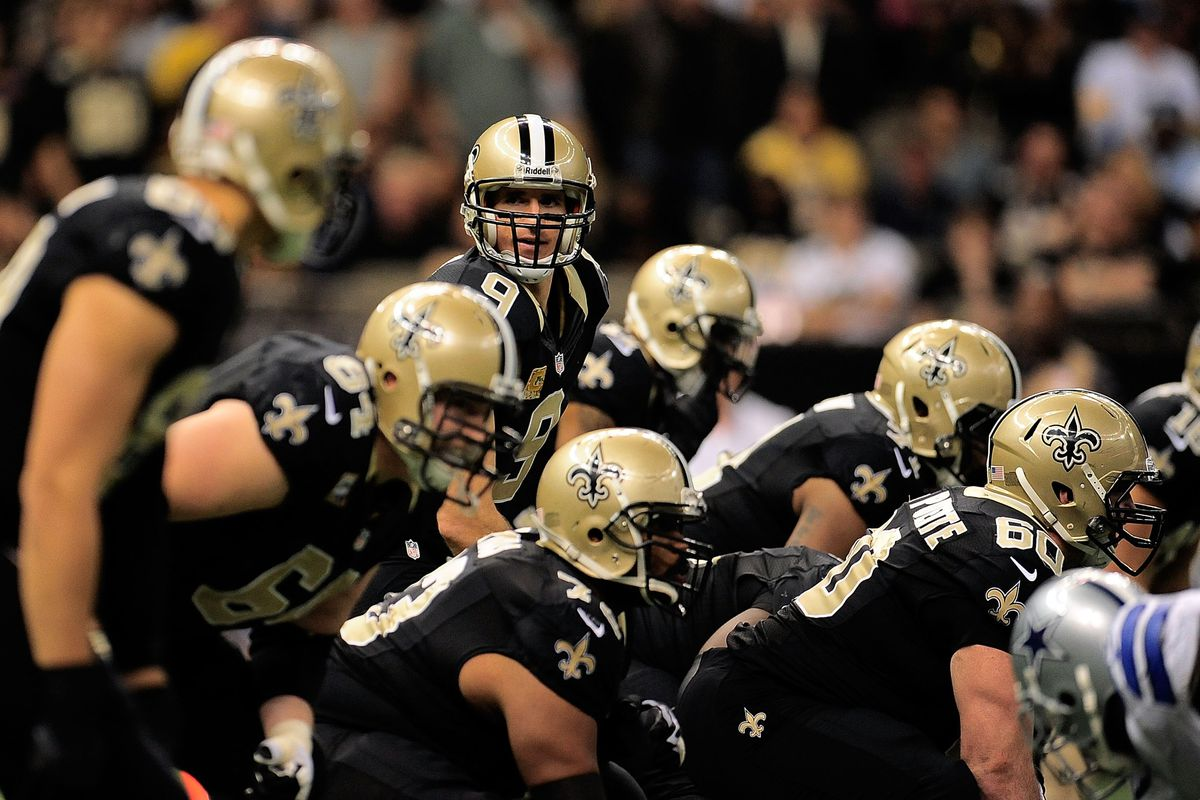 Drew Brees feels rather comfortable behind his protective unit.