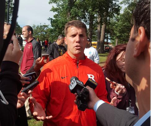 Head Football Coach Chris Ash meeting reporters