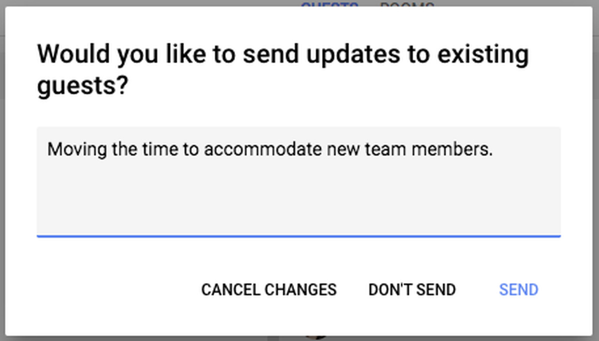 Google Calendar send update
