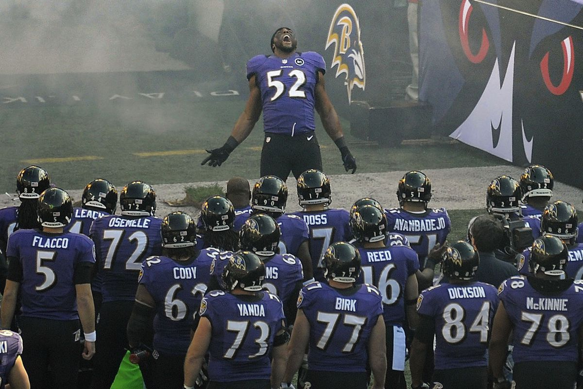 Ray Lewis Performs His Squirrel Dance For Perhaps The Last Time During A Playoff Game Between Indianapolis Colts And Baltimore Ravens In January