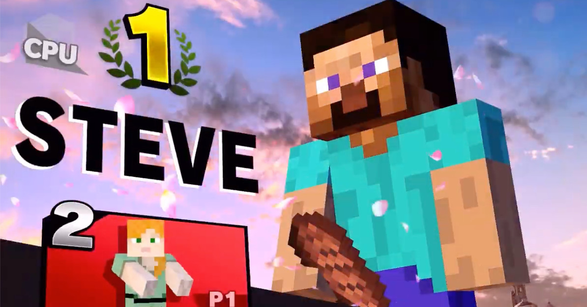 You can't beat Minecraft Steve's Smash Bros. victory screen
