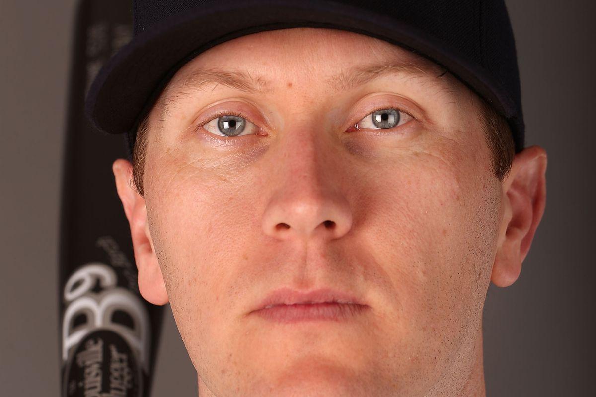Jason Bay wearing a Seattle Mariners hat
