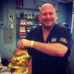 """Jeff Feldstein, the chef at <a href=""""http://down-to-the-bone.com/about"""">Down 2 the Bone Barbecue</a> in New Jersey delivered this crazy burger to the Eater office. It came in a bucket, it weighed three pounds, and it was delicious (but crazy)."""