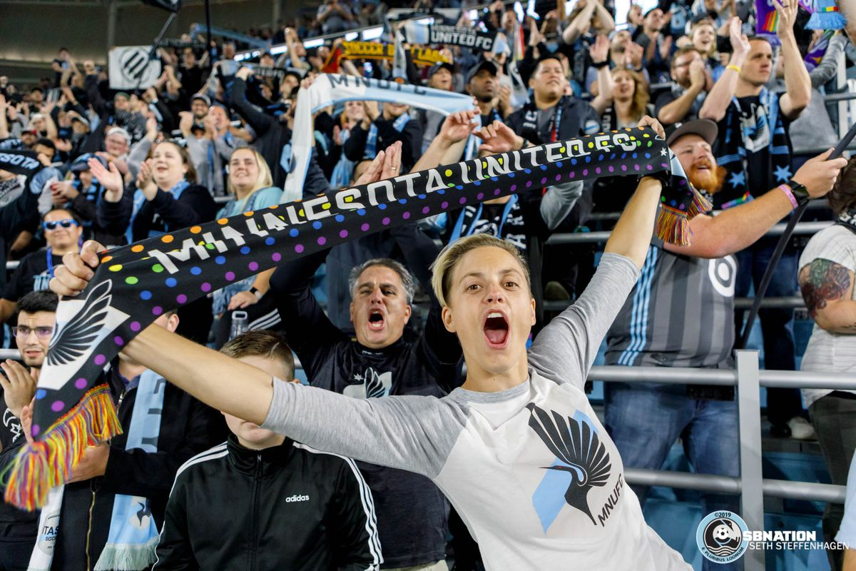 September 25, 2019 - Saint Paul, Minnesota, United States - Supporters in the Wonderwall celebrate a playoff berth after a 2-1 win over Sporting KC at Allianz Field.