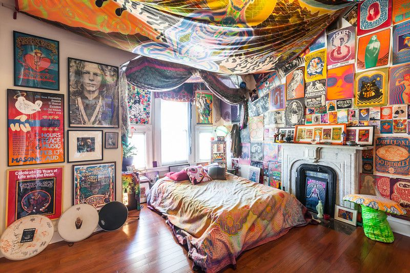 An upstairs bedroom is an homage to Siegel's youth on Haight Street. He's been collecting rock posters since he was a boy.