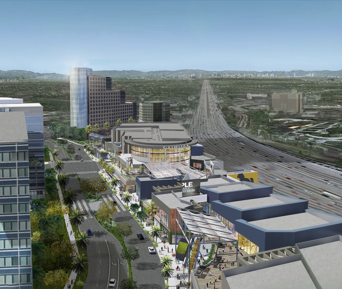 View of complex next to 405 freeway