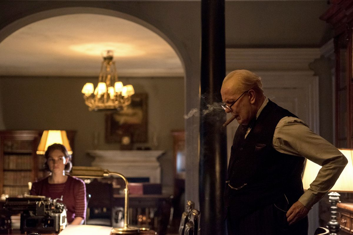 Lily James and Gary Oldman in Darkest Hour